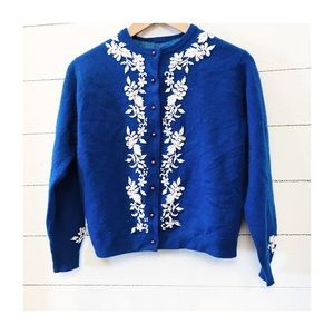 Vintage wool beaded cardigan sweater small